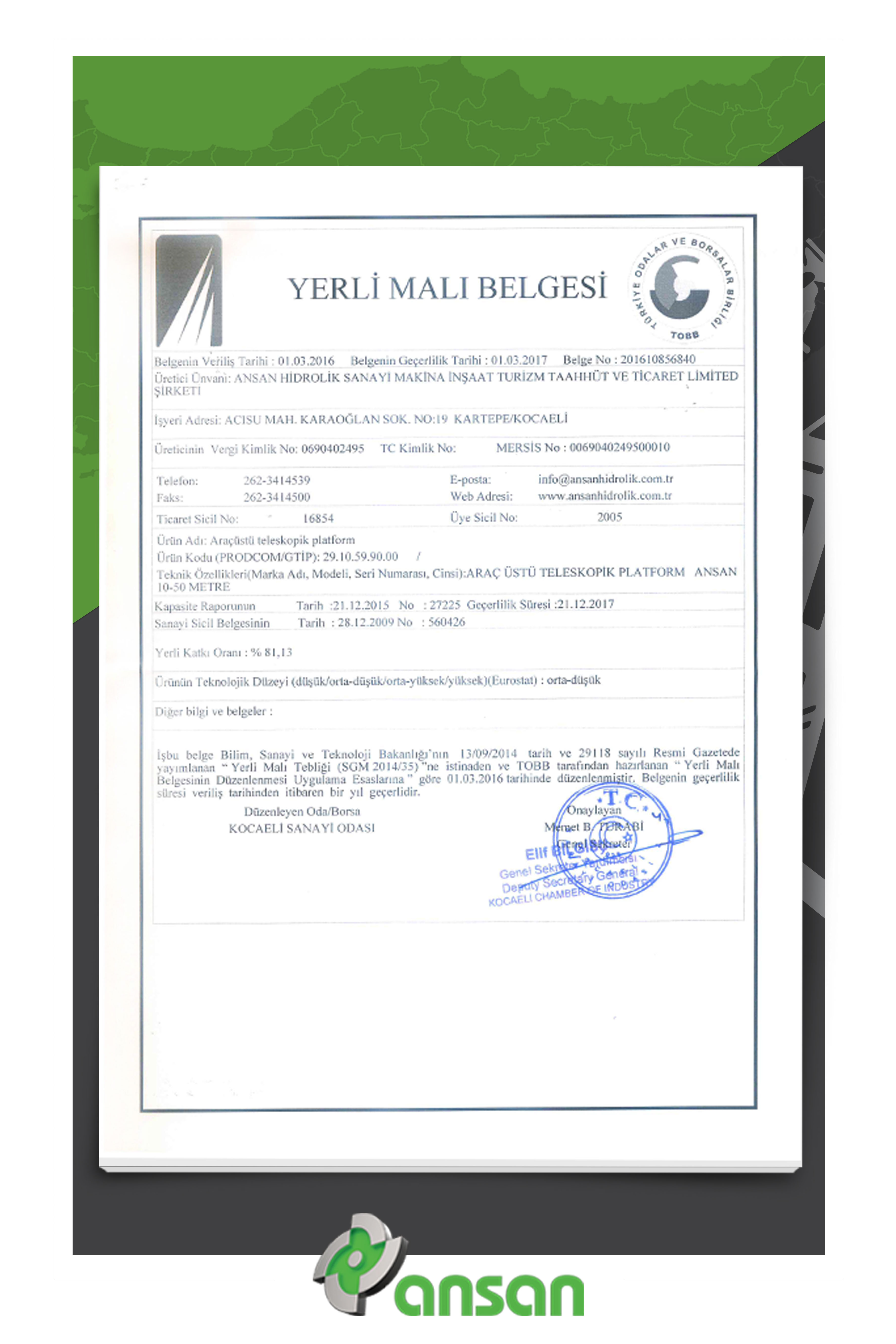 Ansan Hidrolik is Now Domestic Goods Certificated